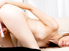 Tall natural beauty shares her first time masturbating on video when she fucks her delicate pink pussy with her favorite vibratorvideo