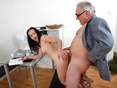 This dirty old teacher is in an amazing position of power over his student as she asks for a second chance on her test. He'll get to fuck her before he gives way to her request!video