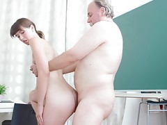 Marisa is a struggling student and finding school hard. She will do anything to improve her grade and having sex with her teacher might just workvideo