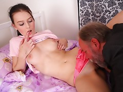 Katia is eaten out and her pussy made wetter by her man and plays with her breasts as she is aroused and turned on by her man.video