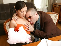 Young, pigtailed and sizzling hot Anna could not resist being fucked by her old horny teacher.video