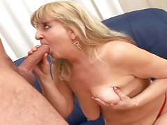 Hot blonde granny enjoys getting fucked by a younger guy!video