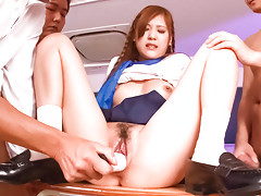 Teen babe Yura Kasumi and three curious teachers in the night classroomvideo