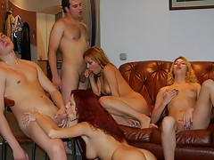Playful pretty party girls seduce horny guysvideo