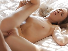 Watch blonde beauty Alison Faye as she rocks her mans world with her slender nubile body and bald cum craving pussy video