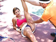 Beauteous sexy spoiled brat chick Keisha Grey gets banged by her tennis trainor after doing a intensive training workoutvideo