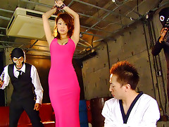 Sensual and hot looking brunette spy Runa Sesaki gets caught as she tries to steal some data, gets handcuffed in the cellar and tortured with all sorts of sex toys up her both fuck holes and then with giving heads to hard cum shooters on the couchvideo