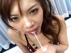 This Japanese slut loves to sucks two hard cocks at the same time. With her nice boobs and tight hairy Asian pussy, this Asian babe is a real cock whore. A Must see!video